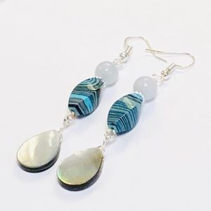 Long Silvery Teal & Gray Mother-of-Pearl Earrings